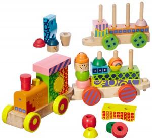 Eichhorn bunter Holz-Soundzug im Spielzeugeisenbahn Vergleich