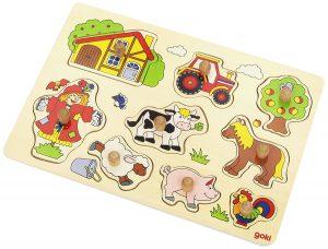 Goki 57995 Steckpuzzle Bauernhof im Holzpuzzle Vergleich