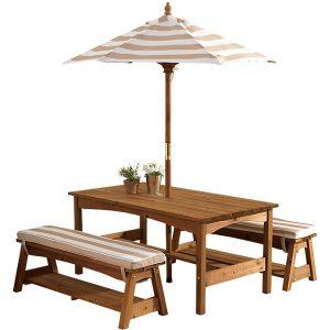 KidKraft Gartentisch mit Sonnenschirm im Kindersitzgruppen-Vergleich