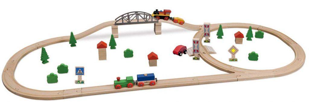 Eichhorn Bahnset mit Brücke im Holzeisenbahn Vergleich