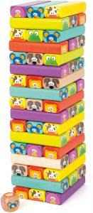 Stapelspiele für Kinder: Wackelturm Tiere aus Holz